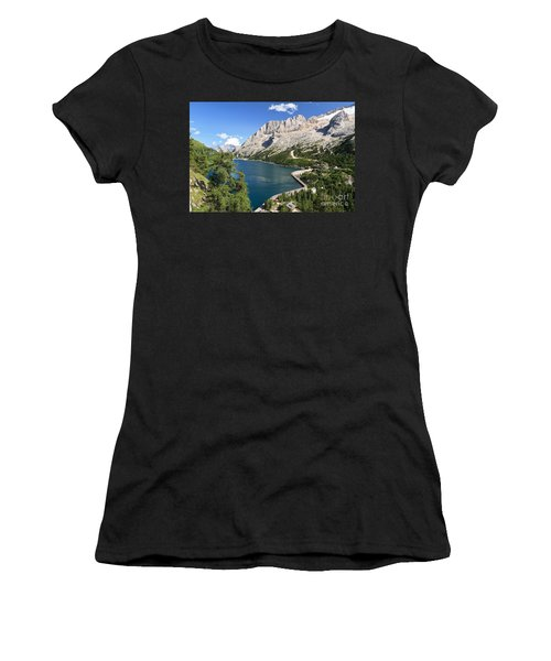 Women's T-Shirt (Junior Cut) featuring the photograph Fedaia Pass With Lake by Antonio Scarpi