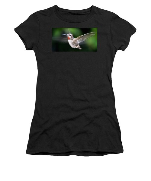 Women's T-Shirt (Junior Cut) featuring the photograph Female Caliope Hummingbird In Flight by Jay Milo