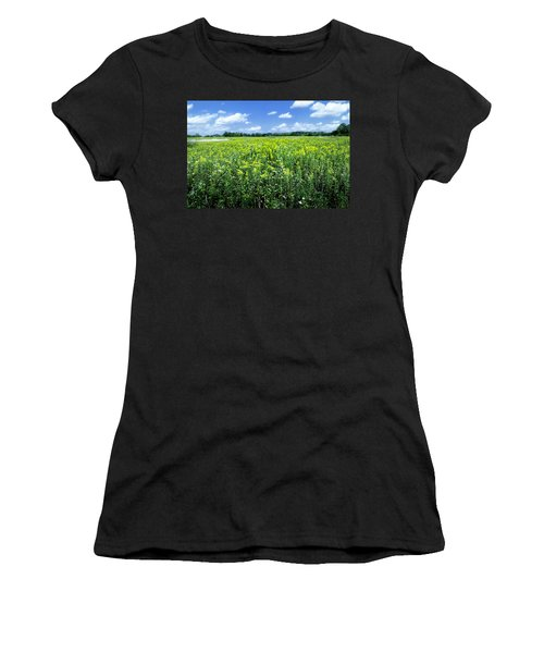 Field Of Flowers Sky Of Clouds Women's T-Shirt