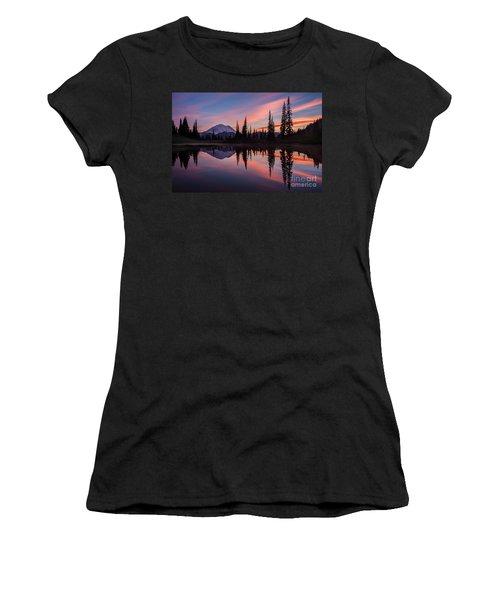 Fiery Rainier Sunset Women's T-Shirt (Junior Cut) by Mike Reid