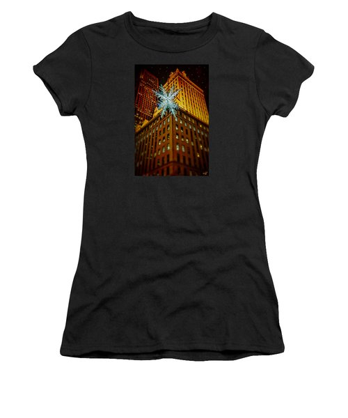Women's T-Shirt (Junior Cut) featuring the photograph Fifth Avenue Holiday Star by Chris Lord