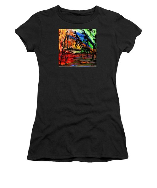 Women's T-Shirt (Junior Cut) featuring the painting Fire And Flood by Helen Syron