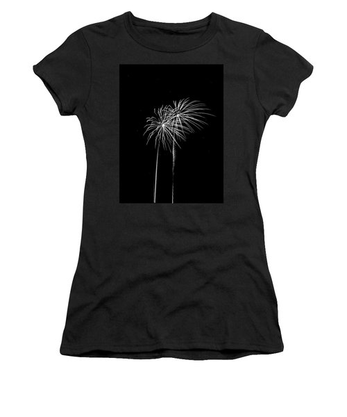 Firework Palm Trees Women's T-Shirt (Junior Cut) by Darryl Dalton