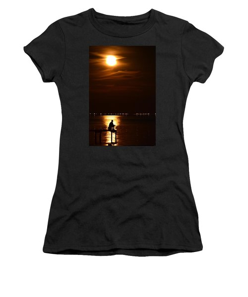 Fishing By Moonlight01 Women's T-Shirt (Athletic Fit)