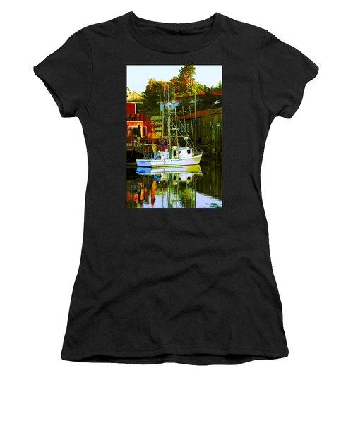 Fish'n Boat At Harbor Women's T-Shirt