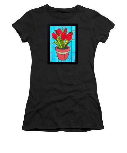 Five Red Tulips Women's T-Shirt (Junior Cut) by Jim Harris