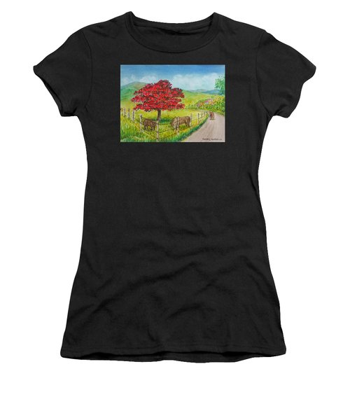 Flamboyan And Cows In Western Puerto Rico Women's T-Shirt