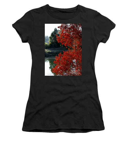 Flame Red Tree Women's T-Shirt (Junior Cut) by Susan Wiedmann