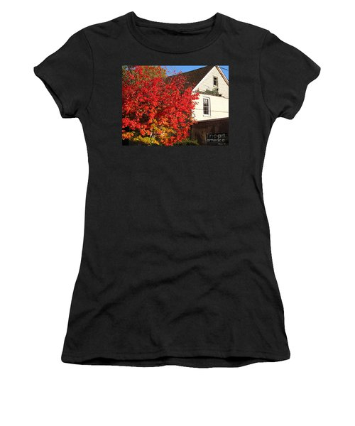 Women's T-Shirt (Junior Cut) featuring the photograph Flaming Fall Colours On Farm House by Nina Silver