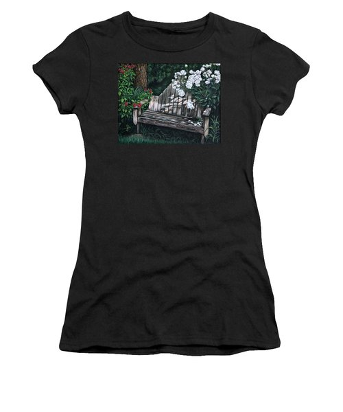 Women's T-Shirt (Junior Cut) featuring the painting Flower Garden Seat by Penny Birch-Williams
