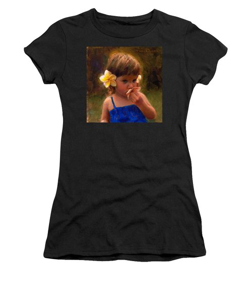 Flower Girl - Tropical Portrait With Plumeria Flowers Women's T-Shirt