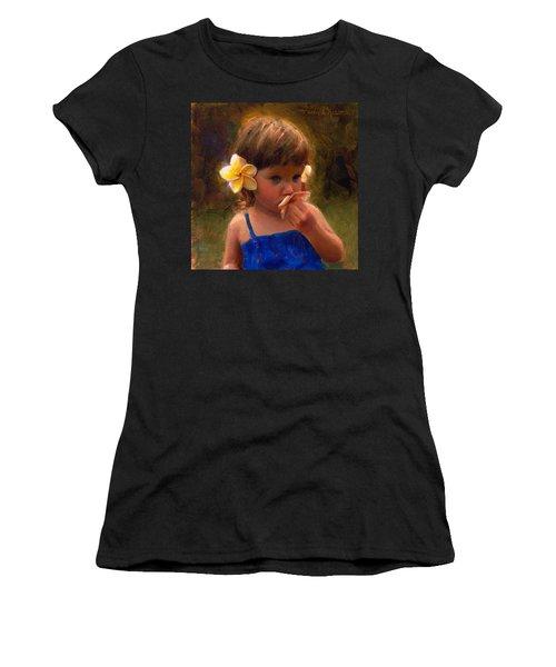 Flower Girl - Tropical Portrait With Plumeria Flowers Women's T-Shirt