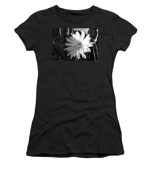 Flowering Cactus 1 Bw Women's T-Shirt (Junior Cut) by Mariusz Kula
