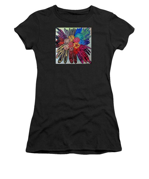 Women's T-Shirt (Junior Cut) featuring the painting Flowers Burst By Jasna Gopic by Jasna Gopic
