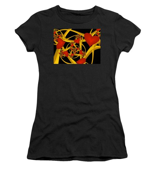 Fractal Love Ist Gold Women's T-Shirt (Junior Cut) by Gabiw Art