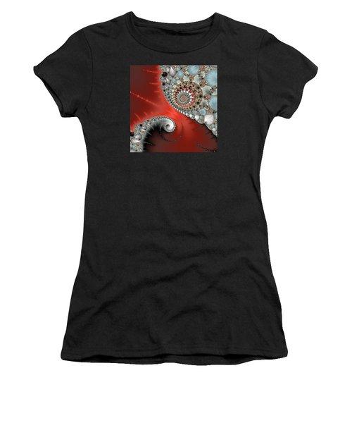 Fractal Spiral Art Red Grey And Light Blue Women's T-Shirt (Junior Cut) by Matthias Hauser