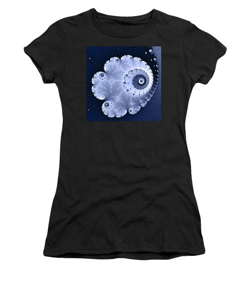 Fractal Spiral Light And Dark Blue Colors Women's T-Shirt (Athletic Fit)