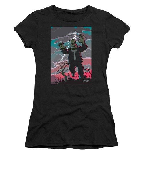Frankenstein Creature In Storm  Women's T-Shirt (Athletic Fit)