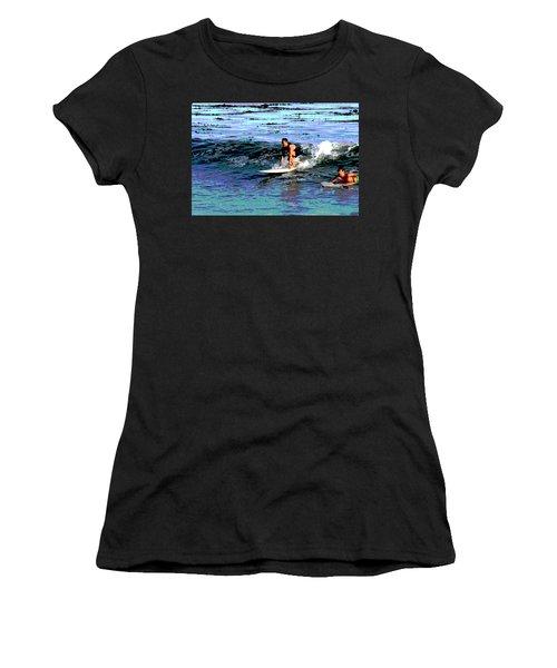 Friends Sharing A Wave Women's T-Shirt