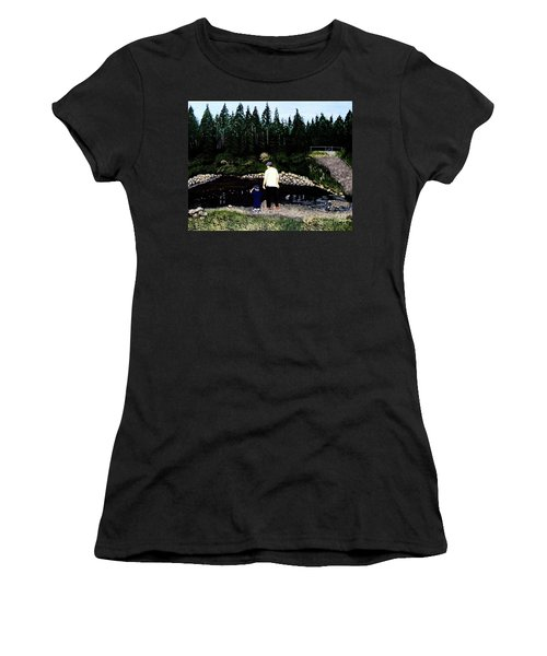 Women's T-Shirt (Junior Cut) featuring the painting Frog Hunting With Poppy by Barbara Griffin