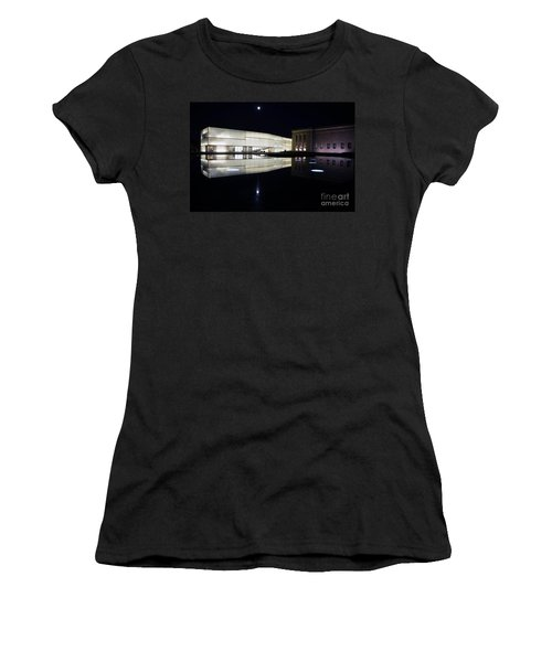 Full Moon Over Nelson Atkins Museum In Kansas City Women's T-Shirt (Athletic Fit)