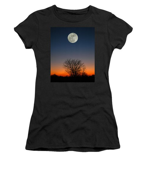 Women's T-Shirt (Junior Cut) featuring the photograph Full Moon Rising by Raymond Salani III