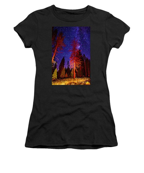 Women's T-Shirt (Junior Cut) featuring the photograph Galaxy Stars By The Campfire by Jerry Cowart