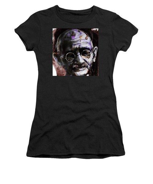 Women's T-Shirt (Junior Cut) featuring the painting Gandhi by Laur Iduc