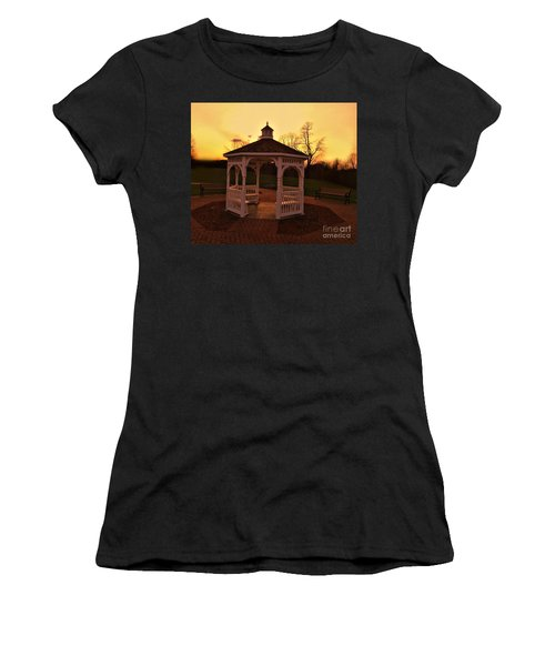 Women's T-Shirt (Junior Cut) featuring the photograph Gazebo In Sunset by Becky Lupe