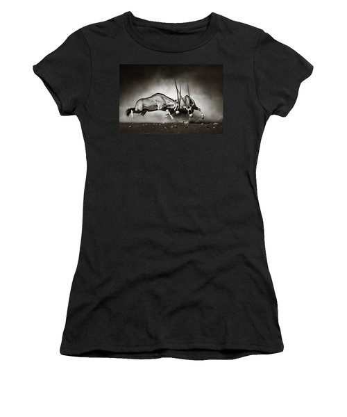 Gemsbok Fight Women's T-Shirt (Junior Cut) by Johan Swanepoel