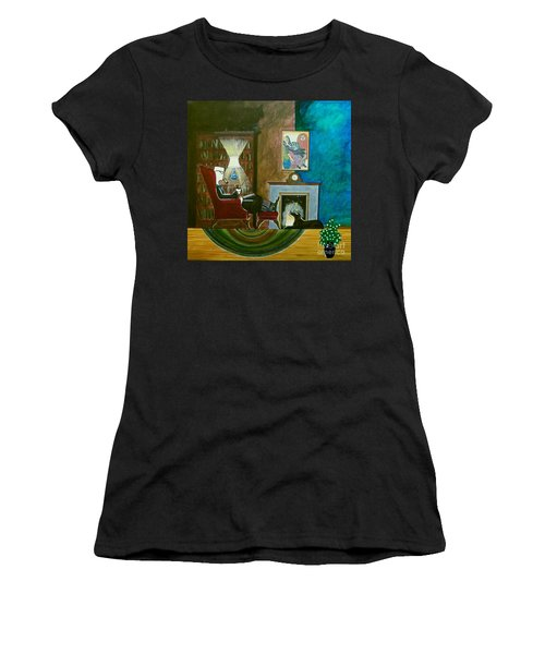 Gentleman Sitting In Wingback Chair Enjoying A Brandy Women's T-Shirt (Athletic Fit)
