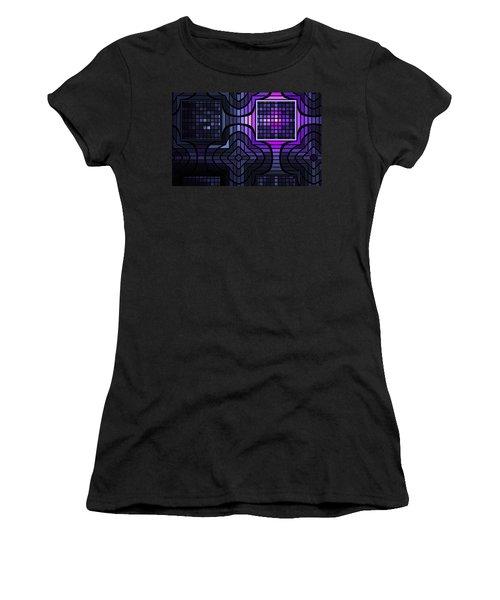 Women's T-Shirt (Junior Cut) featuring the digital art Geometric Stained Glass by GJ Blackman