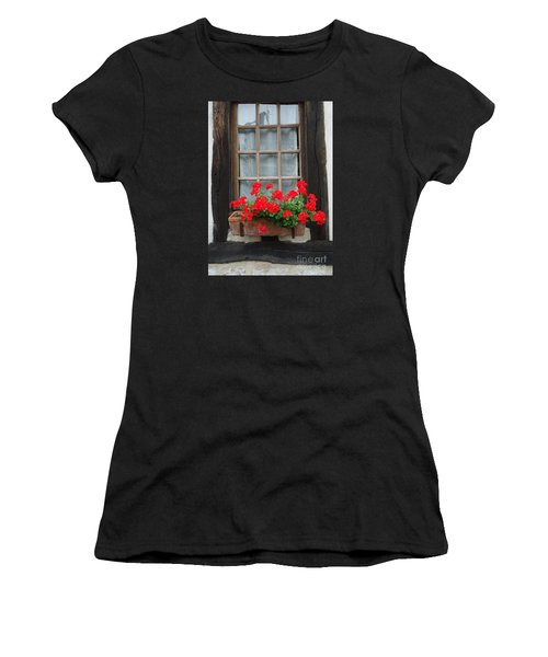 Geraniums In Timber Window Women's T-Shirt (Athletic Fit)
