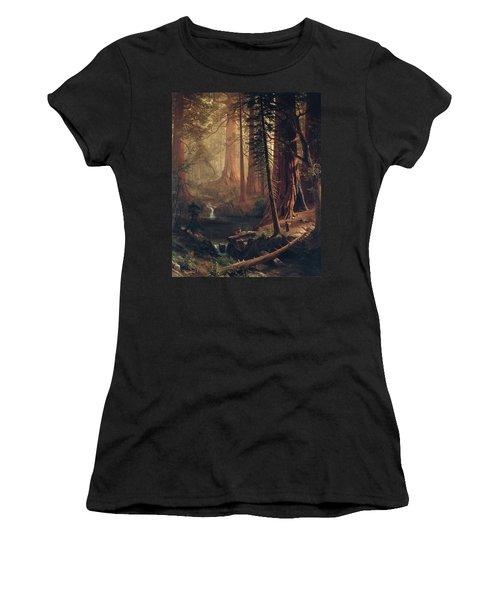 Giant Redwood Trees Of California Women's T-Shirt (Junior Cut) by Albert Bierstadt