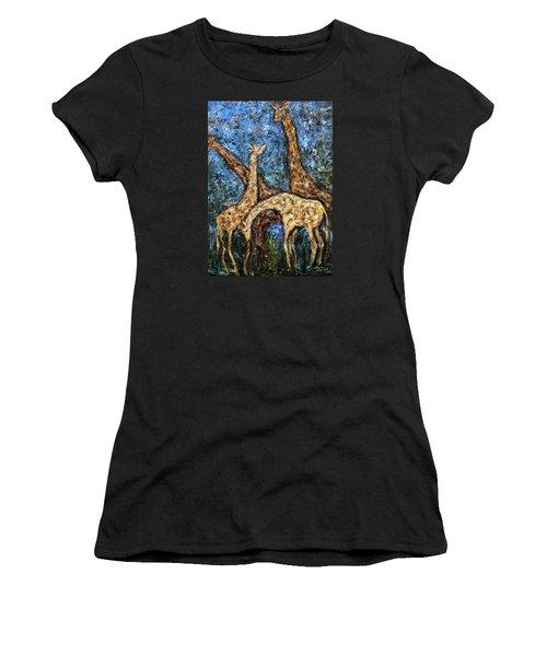 Giraffe Family Women's T-Shirt (Junior Cut) by Xueling Zou