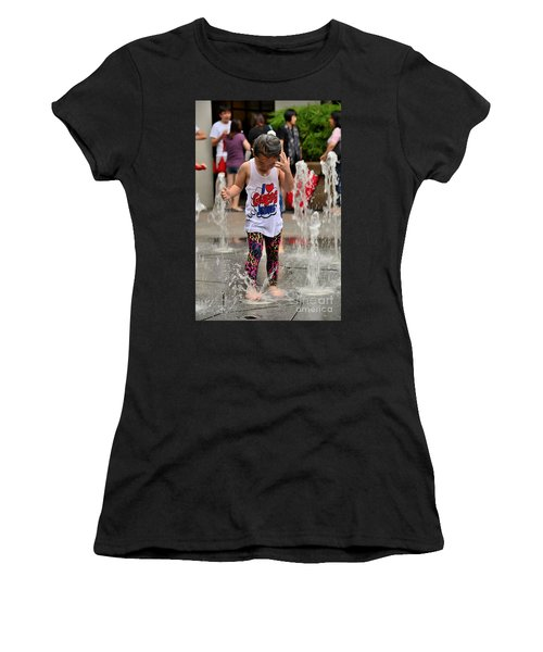 Girl Child Plays With Water At Fountain Singapore Women's T-Shirt