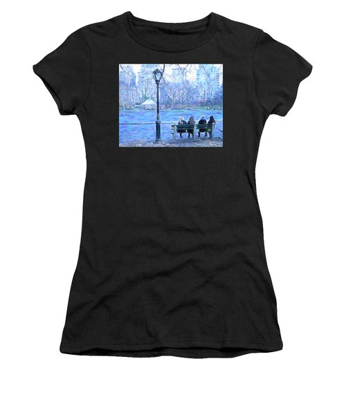 Girls At Pond In Central Park Women's T-Shirt (Athletic Fit)