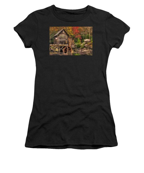 Glade Creek Grist Mill-1a Babcock State Park Wv Autumn Late Afternoon Women's T-Shirt (Athletic Fit)