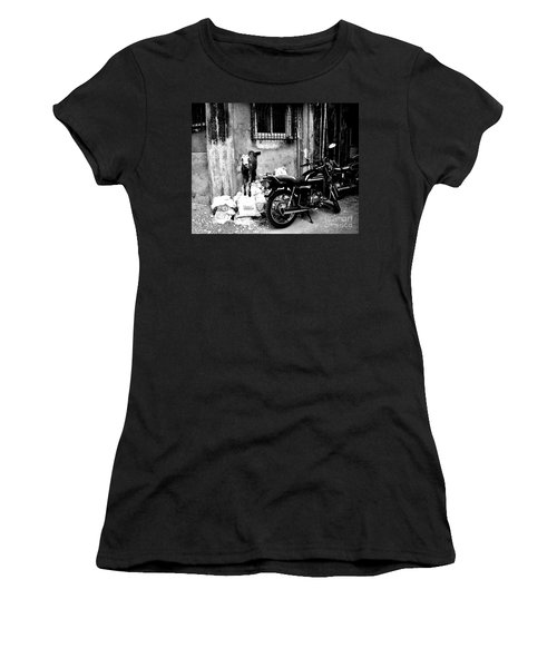 Goatercycle Black And White Women's T-Shirt (Athletic Fit)