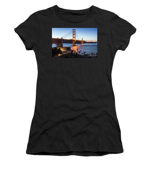Women's T-Shirt featuring the photograph Golden Gate Night by Kate Brown