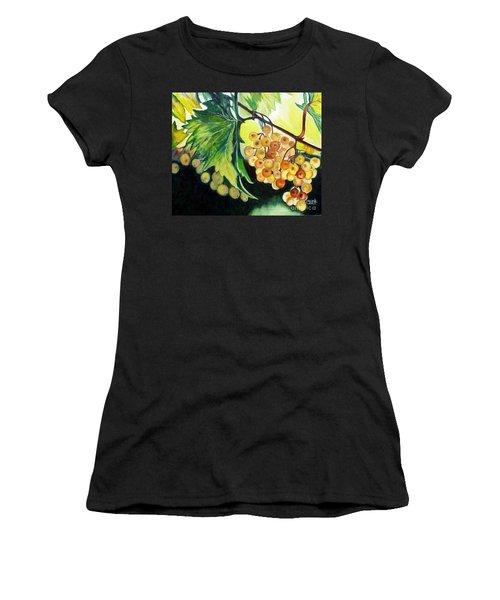 Women's T-Shirt (Junior Cut) featuring the painting Golden Grapes by Julie Brugh Riffey