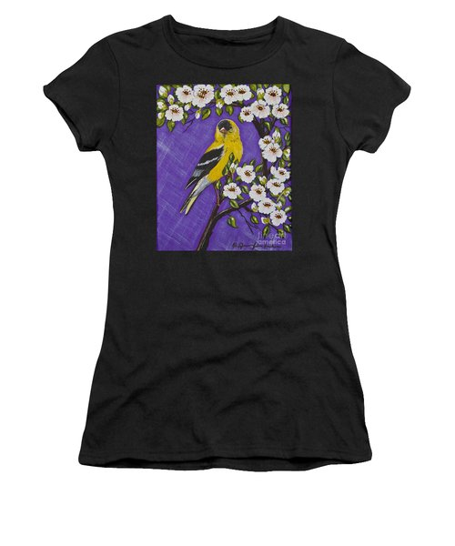 Goldfinch In Pear Blossoms Women's T-Shirt