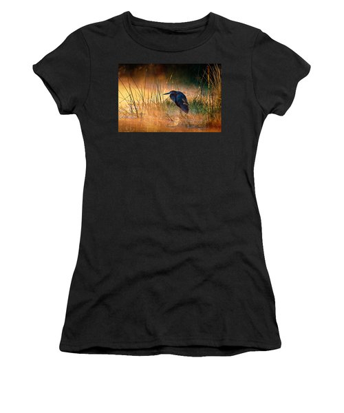 Goliath Heron With Sunrise Over Misty River Women's T-Shirt (Athletic Fit)