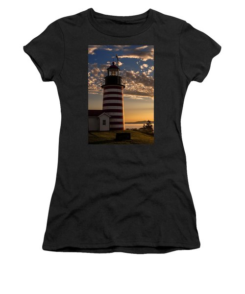 Good Morning West Quoddy Head Lighthouse Women's T-Shirt (Junior Cut) by Marty Saccone