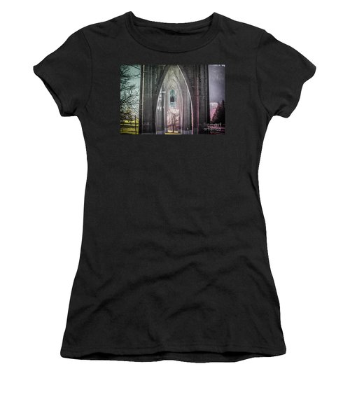 Gothic Arches Hands Folded In Prayer Women's T-Shirt (Athletic Fit)