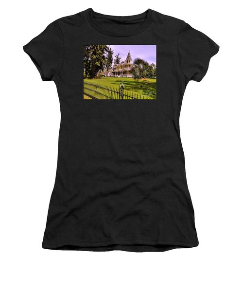 Women's T-Shirt (Junior Cut) featuring the photograph Grand Yellow Victorian And Gate by Becky Lupe