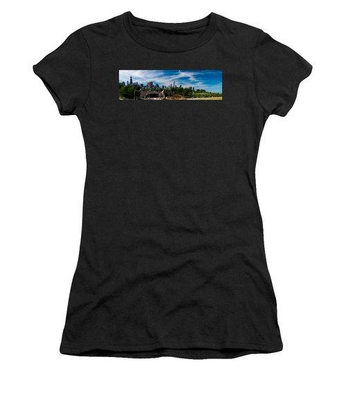 Grant Park Chicago Skyline Panoramic Women's T-Shirt (Junior Cut) by Adam Romanowicz