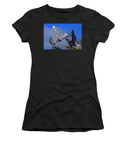 Great Blue Heron Fight  Women's T-Shirt (Athletic Fit)