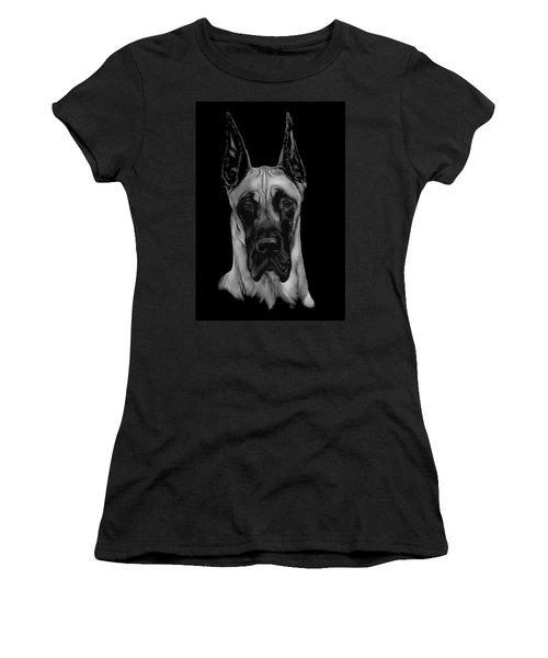 Women's T-Shirt (Junior Cut) featuring the drawing Great Dane by Rachel Hames
