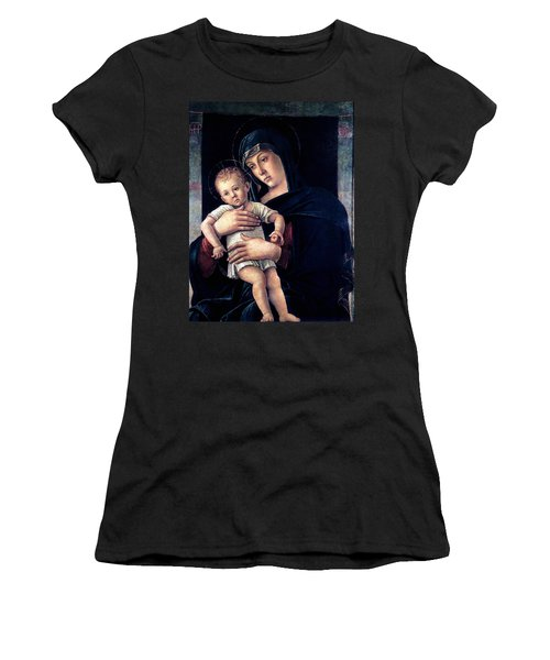 Women's T-Shirt (Junior Cut) featuring the painting Greek Madonna With Child 1464 Giovanni Bellini by Karon Melillo DeVega